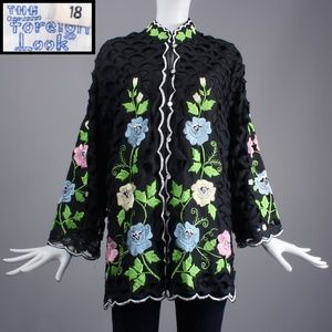 XL Vintage 60s Embroidered CutOut Tunic Top Jacket